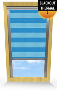 Metallic Stripe Teal Cordless Roller Blind