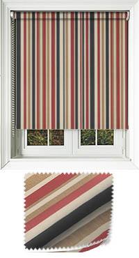 spectrum redcurrant striped roller blinds